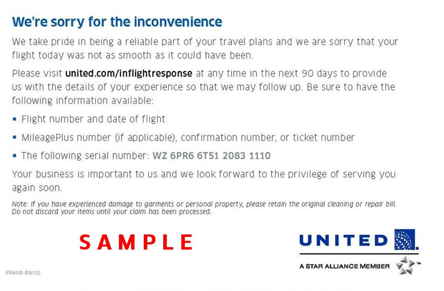 United cares did you receive a we are sorry for the inconvenience card from a flight attendant thecheapjerseys Choice Image